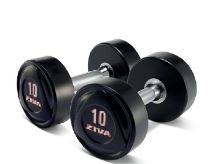 SL Solid Steel Virgin Rubber Dumbbell 47,5kg-white